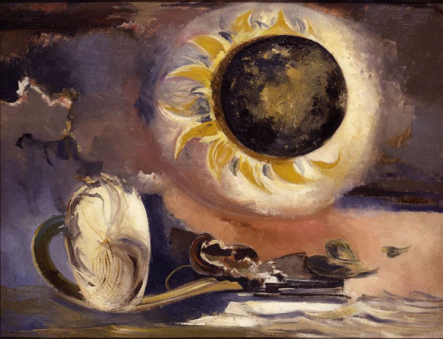 Paul Nash, Tête de cumulus, 1944. Huile sur toile, 41 × 61 cm. Collection privée. Paul Nash, Éclipse du tournesol, 1945. Huile sur toile, 71,1 x 91,4 cm. British Council Collection.