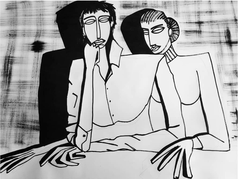 Iris Marchand 150x220 - couple - encre de chine sur papier