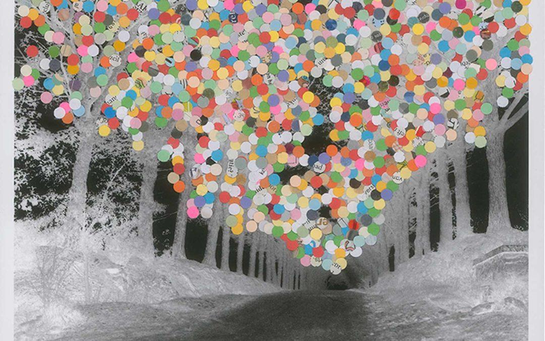 Inge van der Ven, Confetti Trees, collage mixed media techniques